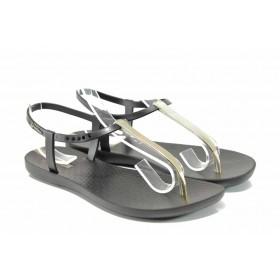 Дамски сандали - висококачествен pvc материал - черни - EO-12576