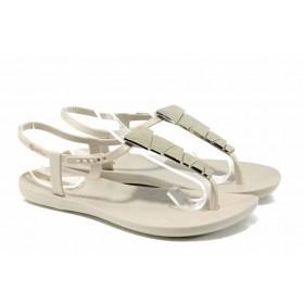 Дамски сандали - висококачествен pvc материал - бежови - EO-12578
