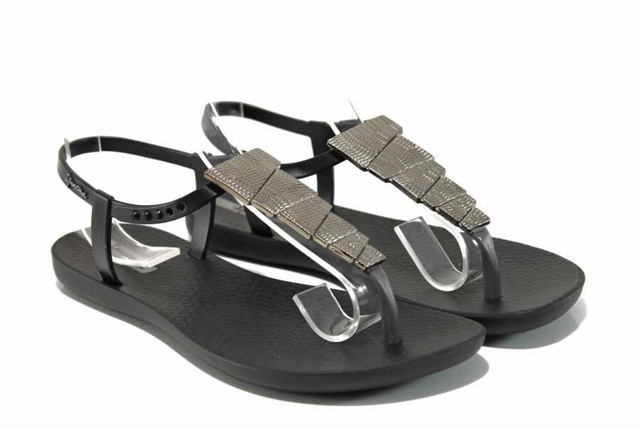 Дамски сандали - висококачествен pvc материал - черни - EO-12575