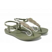 Дамски сандали - висококачествен pvc материал - зелени - EO-12577