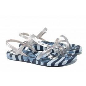 Дамски сандали - висококачествен pvc материал - сини - EO-12585