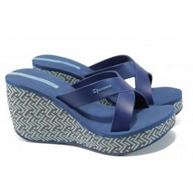 Дамски чехли - висококачествен pvc материал - сини - EO-12618