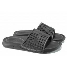 Мъжки чехли - висококачествен pvc материал - черни - EO-12602