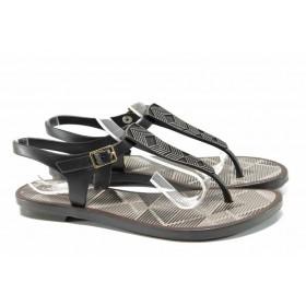 Дамски сандали - висококачествен pvc материал - черни - EO-12586