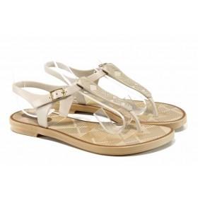 Дамски сандали - висококачествен pvc материал - бежови - EO-12587
