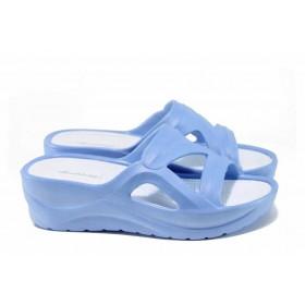 Дамски чехли - висококачествен pvc материал - сини - EO-12709