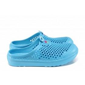 Дамски чехли - висококачествен pvc материал - сини - EO-12739