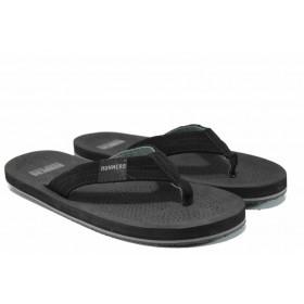 Джапанки - висококачествен pvc материал и текстил - черни - EO-12858