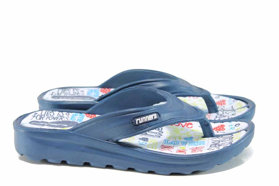 Джапанки - висококачествен pvc материал - сини - EO-12874