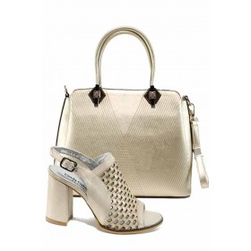 Дамска чанта и обувки в комплект -  - бежови - EO-12883