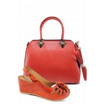 Дамска чанта и обувки в комплект -  - червени - EO-12884