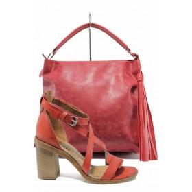 Дамска чанта и обувки в комплект -  - червени - EO-12894