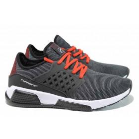 Мъжки маратонки - висококачествен текстилен материал - черни - EO-12058
