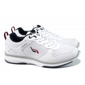 Мъжки маратонки - еко-кожа с текстил - бели - EO-12060