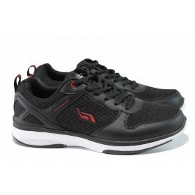 Мъжки маратонки - еко-кожа с текстил - черни - EO-12059
