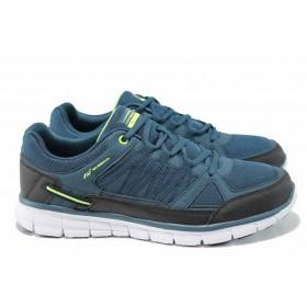 Мъжки маратонки - еко-кожа с текстил - зелени - EO-12056
