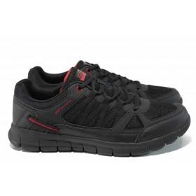 Мъжки маратонки - еко-кожа с текстил - черни - EO-12055