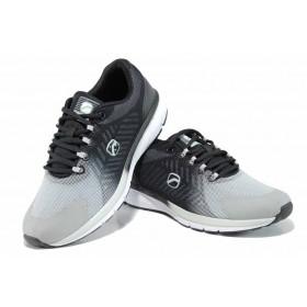 Дамски маратонки - еко-кожа с текстил - черни - EO-12053