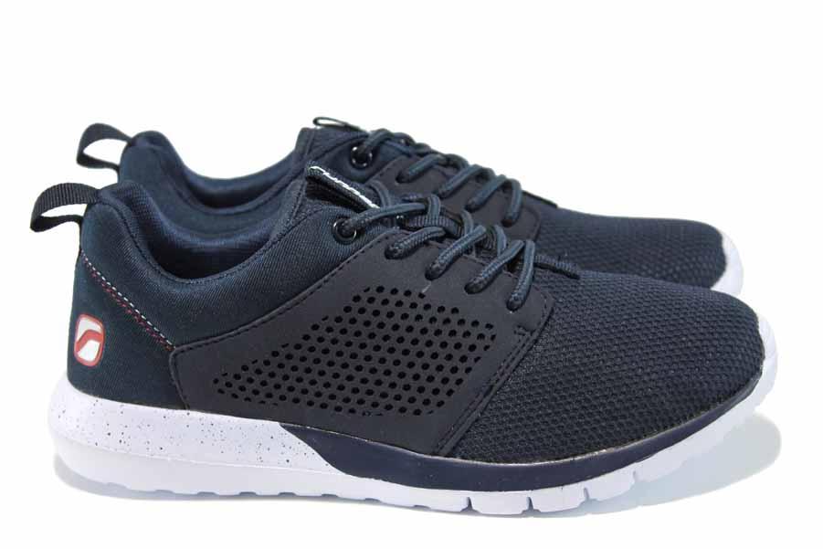 Мъжки маратонки - еко-кожа с текстил - тъмносин - EO-12057