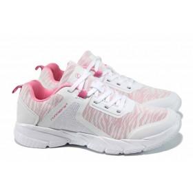 Дамски маратонки - еко-кожа с текстил - бели - EO-12052