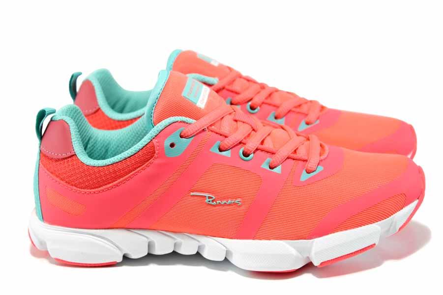 Дамски маратонки - еко-кожа с текстил - корал - EO-12051