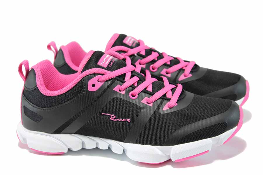 Дамски маратонки - еко-кожа с текстил - черни - EO-12050