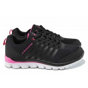 Дамски маратонки - еко-кожа с текстил - черни - EO-12049