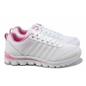 Дамски маратонки - еко-кожа с текстил - бели - EO-12048