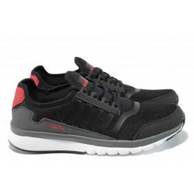Мъжки маратонки - висококачествен текстилен материал - черни - EO-12098