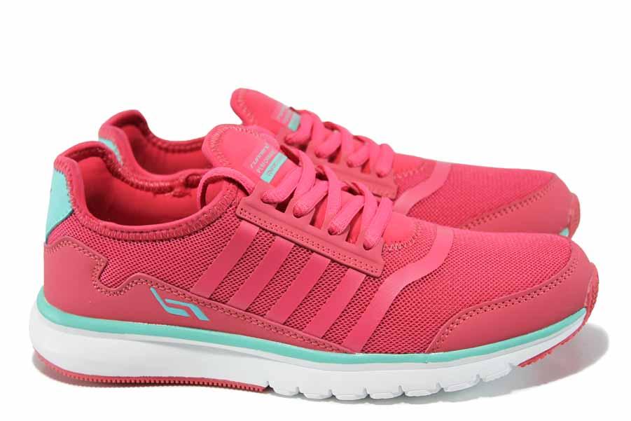 Дамски маратонки - висококачествен текстилен материал - розови - EO-12093