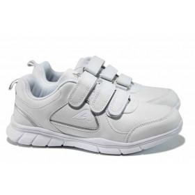 Дамски маратонки - висококачествена еко-кожа - бели - EO-12255