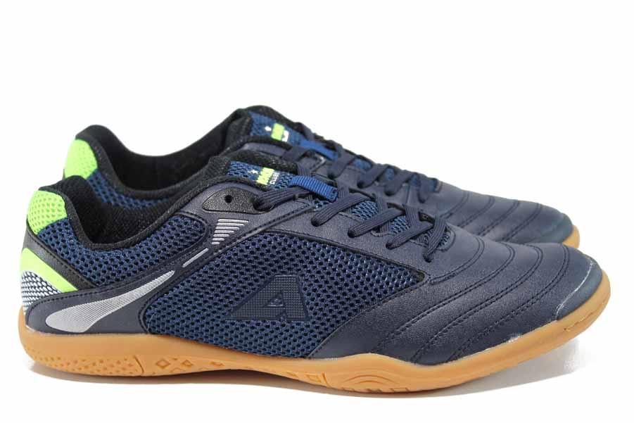 Мъжки маратонки - еко-кожа с текстил - тъмносин - EO-12200