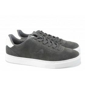 Спортни мъжки обувки - естествен набук - сиви - EO-12260