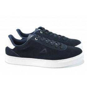 Спортни мъжки обувки - естествен набук - тъмносин - EO-12259