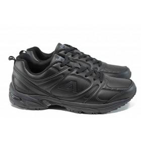 Спортни мъжки обувки - висококачествена еко-кожа - черни - EO-12261