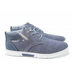 Спортни мъжки обувки - висококачествен текстилен материал - сини - EO-12201