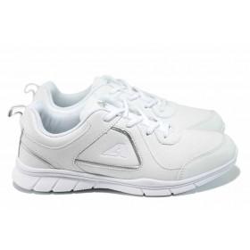 Дамски маратонки - висококачествена еко-кожа - бели - EO-12256