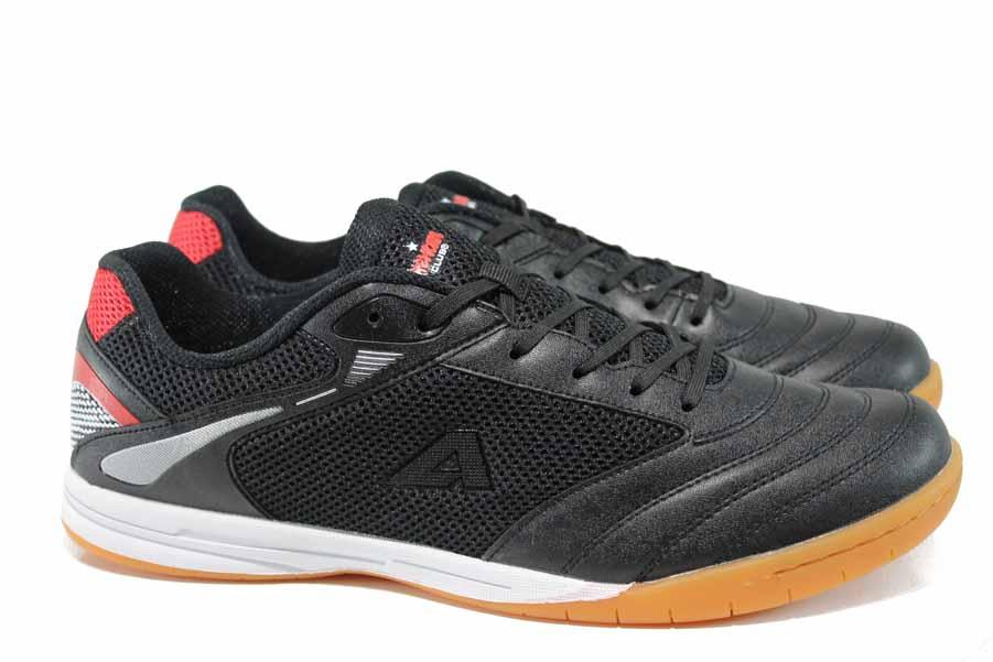 Мъжки маратонки - еко-кожа с текстил - черни - EO-12323