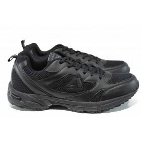 Мъжки маратонки - еко-кожа с текстил - черни - EO-12324