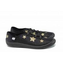 Детски обувки - висококачествен текстилен материал - черни - EO-12320