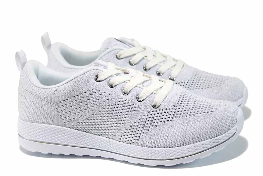 Дамски маратонки - висококачествен текстилен материал - бели - EO-12376