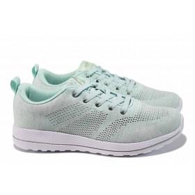 Дамски маратонки - висококачествен текстилен материал - зелени - EO-12377