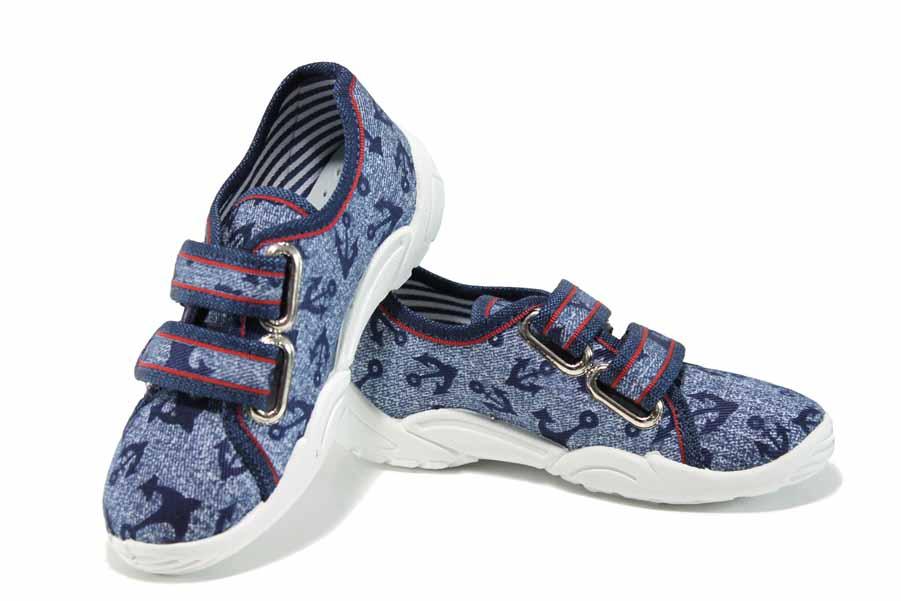Детски обувки - висококачествен текстилен материал - сини - EO-12380
