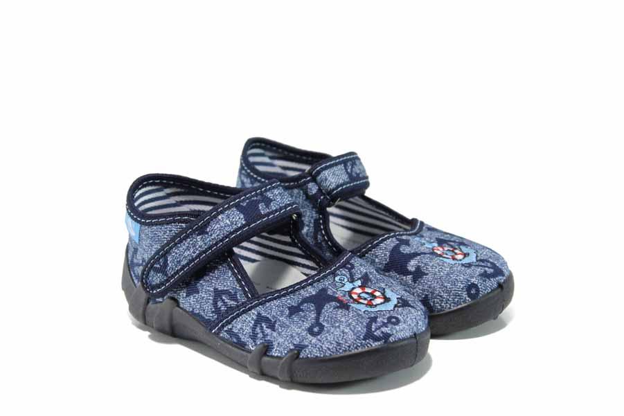 Детски обувки - висококачествен текстилен материал - сини - EO-12384