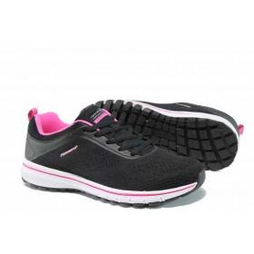 Дамски маратонки - висококачествен текстилен материал - черни - EO-12423