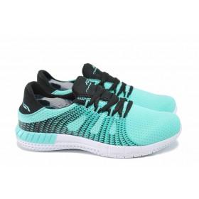 Дамски маратонки - еко-кожа с текстил - зелени - EO-12421