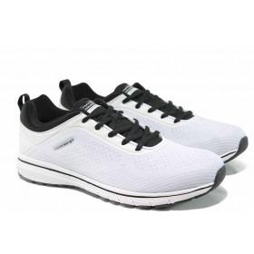 Спортни мъжки обувки - висококачествен текстилен материал - бели - EO-12418