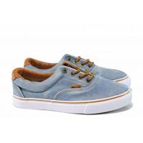 Дамски кецове - висококачествен текстилен материал - сини - EO-12803
