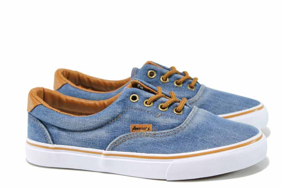 Мъжки маратонки - висококачествен текстилен материал - сини - EO-12800