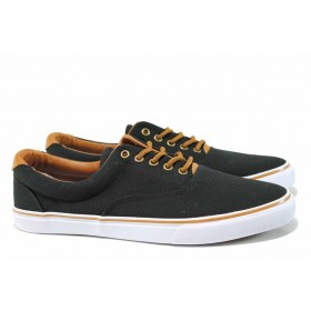 Спортни мъжки обувки - висококачествен текстилен материал - черни - EO-12557